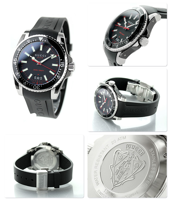 fa20f564af3 nanaple  Gucci clock men GUCCI watch dive quartz YA136303 black ...
