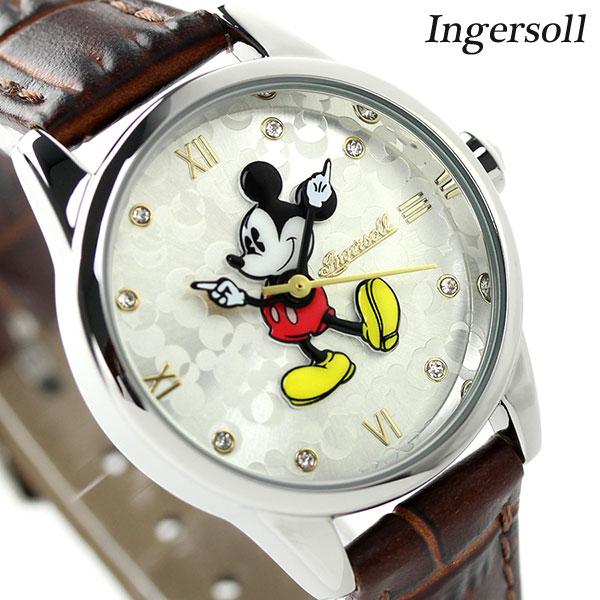 ディズニー ミッキー クラシック タイム コレクション DIN005SLTN インガソール 腕時計 シルバー×ブラウン 時計