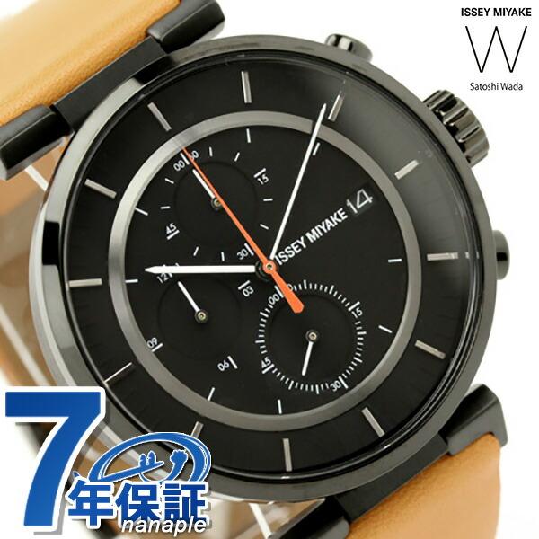 イッセイミヤケ 腕時計 メンズ ダブリュ クロノグラフ ブラック×ライトブラウンレザー ISSEY MIYAKE SILAY006 時計