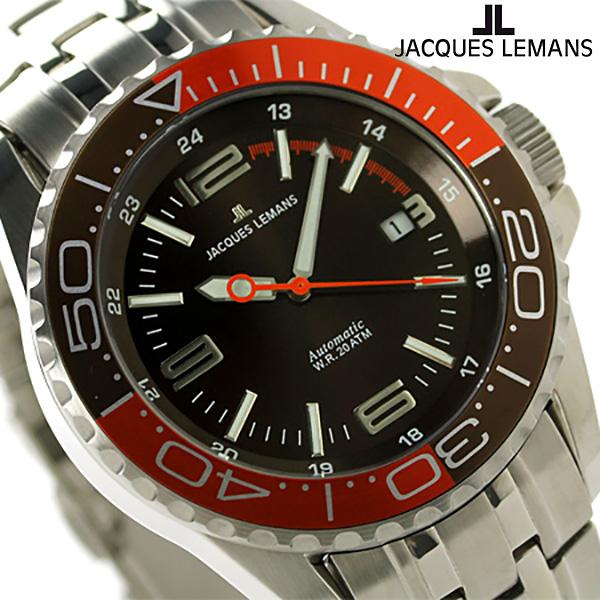 ジャックルマン リバプール ダイバー 20気圧防水 自動巻き 1-1353G JACQUES LEMANS 腕時計 ブラウン×オレンジ 時計