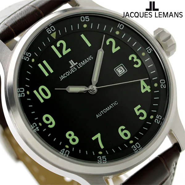 ジャックルマン ポルト 自動巻き メンズ 腕時計 1-1723A JACQUES LEMANS ブラック×ブラウン 時計