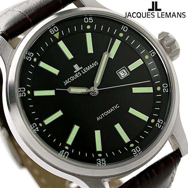 ジャックルマン ポルト 自動巻き メンズ 腕時計 1-1723B JACQUES LEMANS ブラック×ブラウン 時計