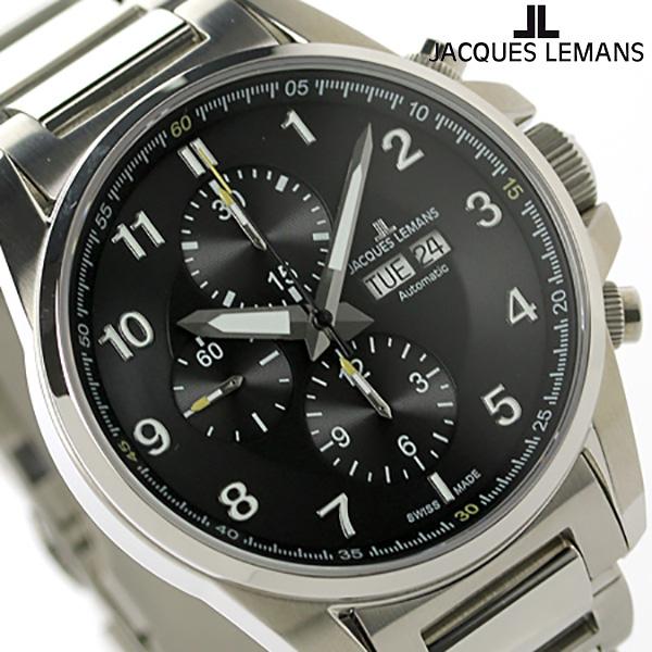 ジャックルマン リバプール クロノグラフ 自動巻き 腕時計 1-1750D JACQUES LEMANS ブラック 時計【あす楽対応】