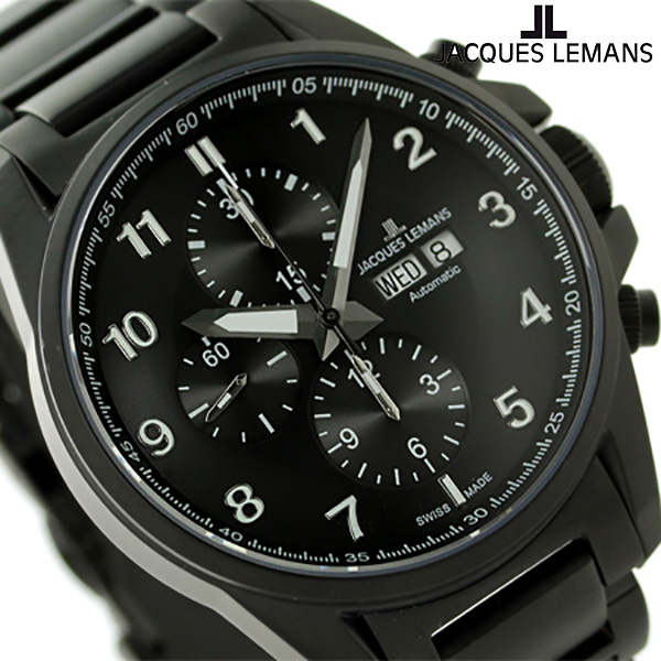 ジャックルマン リバプール クロノグラフ 自動巻き 腕時計 1-1750G JACQUES LEMANS オールブラック 時計【あす楽対応】