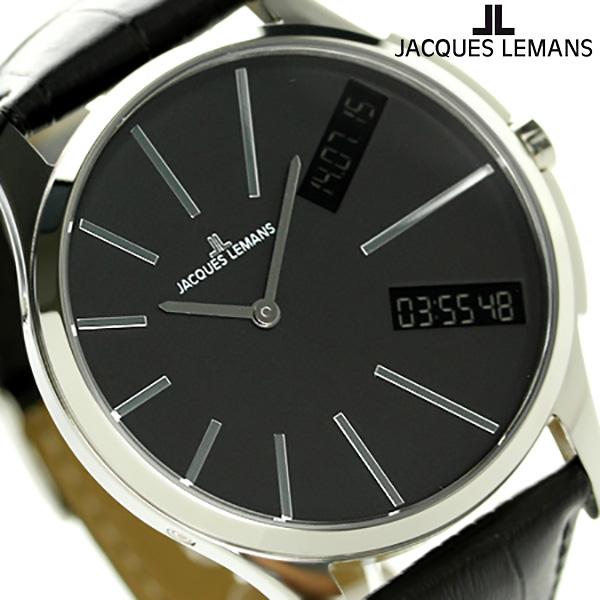 ジャックルマン ロンドン GMT メンズ 腕時計 1-1788A JACQUES LEMANS ブラック 時計