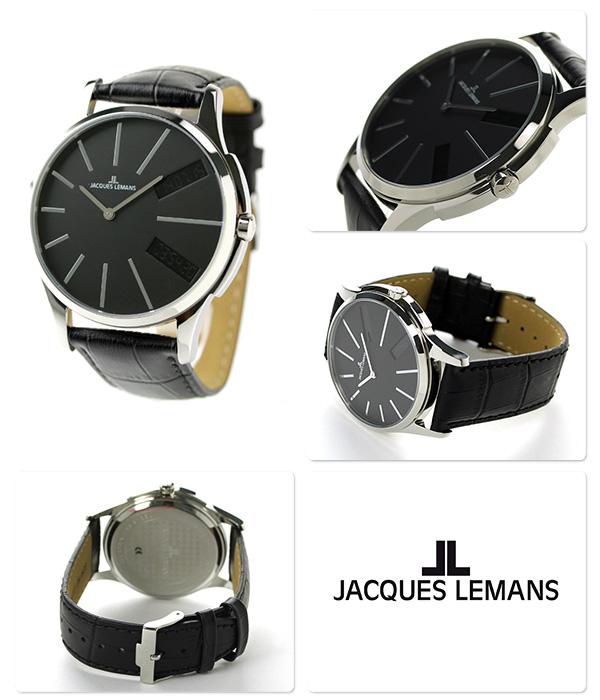 杰克勒芒伦敦GMT人手表1-1788A JACQUES LEMANS黑色