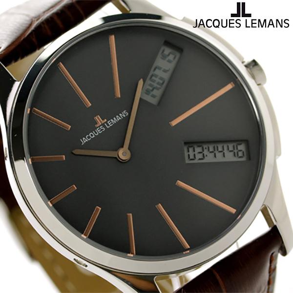ジャックルマン ロンドン GMT メンズ 腕時計 1-1788D JACQUES LEMANS グレー×ブラウン 時計