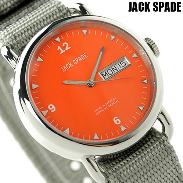ジャックスペード コンウェイ クラシックミリタリー 38mm WURU0029 JACK SPADE メンズ 腕時計 オレンジ×グレー 時計【あす楽対応】