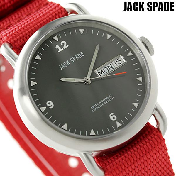 ジャックスペード コンウェイ クラシックミリタリー 38mm WURU0030 JACK SPADE メンズ 腕時計 ブラック×レッド 時計【あす楽対応】