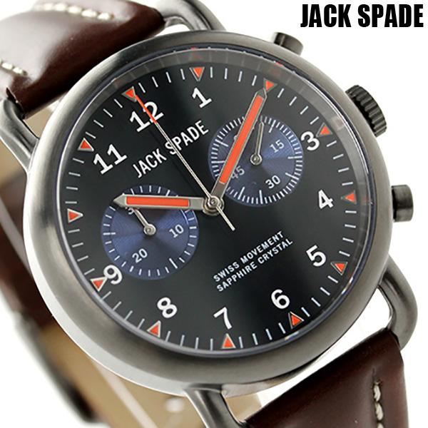 ジャックスペード ノートン 2アイ クロノグラフ 38mm WURU0124 JACK SPADE メンズ 腕時計 ブラック×ダークブラウン 時計