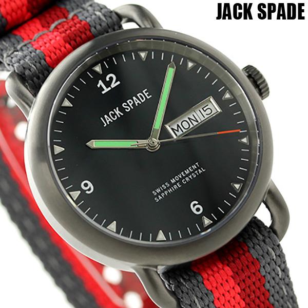ジャックスペード コンウェイ クラシックミリタリー 38mm WURU0135 JACK SPADE メンズ 腕時計 ブラック×レッド 時計【あす楽対応】