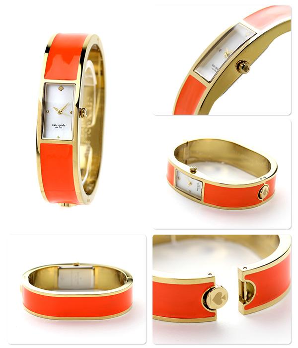凯特黑桃纽约传送带女士1YRU0308 KATE SPADE NEW YORK手表白外壳×橙子