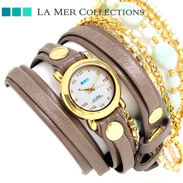 ラメール コレクション レザー レディース 腕時計 LMMULTI7005 LA MER クラシック ストーン 時計