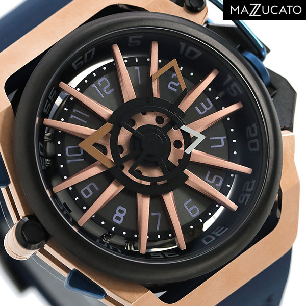 マッツカート リバーシブル デュアルムーブメント メンズ 腕時計 RIM-02-BLCG6 MAZZUCATO リム 48mm 時計【あす楽対応】