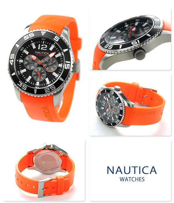 Nautica NST 07 multi-function men watch A12023G NAUTICA quartz black X orange