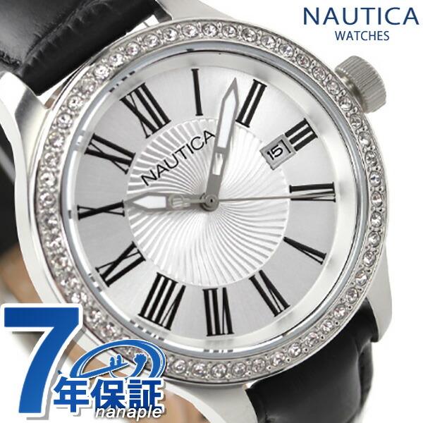 ノーティカ クオーツ レディース 腕時計 A12652M NAUTICA BFD101 デイトM シルバー×ブラック レザーベルト 時計