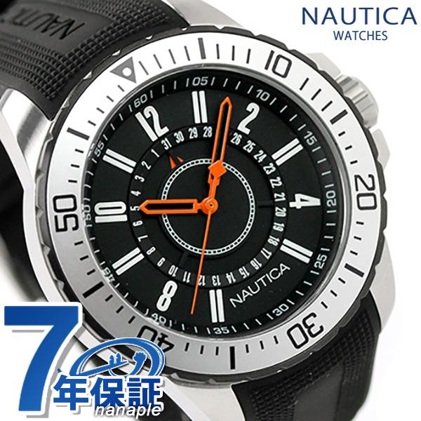 ノーティカ 腕時計 NST 15 デイト メンズ ブラック×オレンジ ラバ-ベルト NAUTICA A14661G 時計