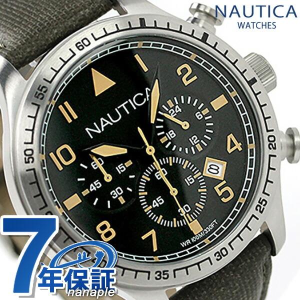 ノーティカ 腕時計 BFD 105 クロノグラフ メンズ ブラック×オリーブ レザーベルト NAUTICA A16579G 時計