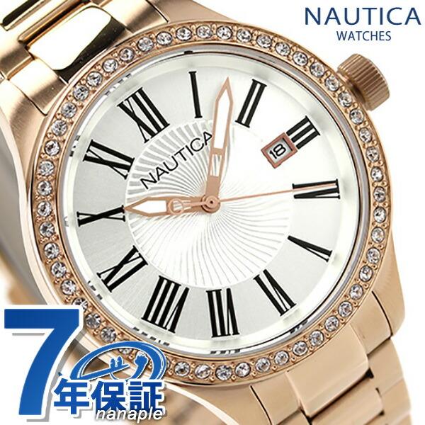 Nautica quartz Lady's watch A17644M NAUTICA BFD101 date M silver X Rose gold