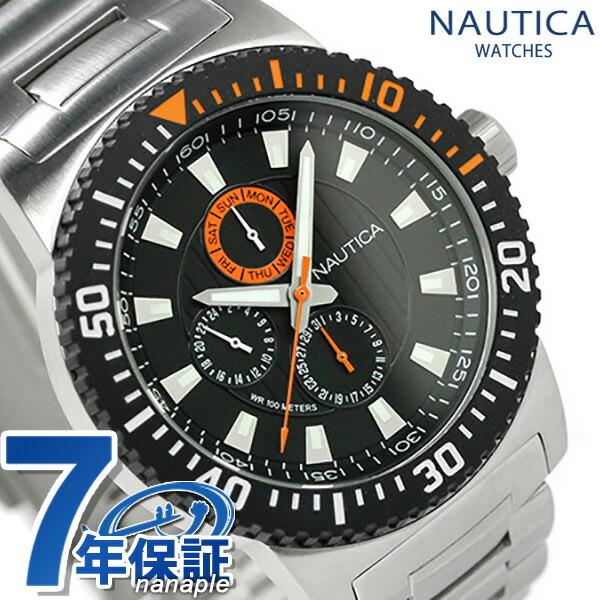 ノーティカ 腕時計 NST 16 マルチファンクション メンズ ブラック×オレンジ NAUTICA A18680G 時計