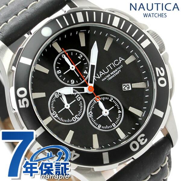 ノーティカ 腕時計 BFD 101 ダイブスタイルクロノ ブラック レザーベルト NAUTICA A20109G 時計