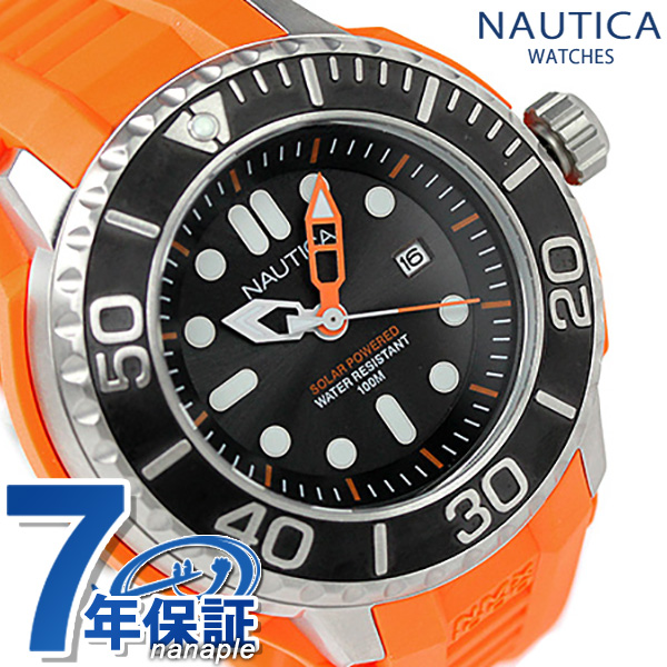 ノーティカ 腕時計 ソーラー NMX 1000 メンズ ブラック×オレンジ ラバ-ベルト NAUTICA A26538G 時計