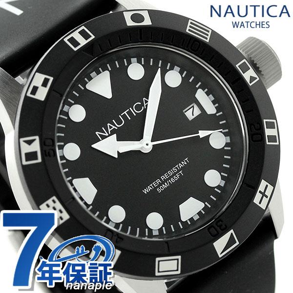 ノーティカ NSR 100 FLAG クオーツ メンズ 腕時計 NAI09509G NAUTICA オールブラック 時計【あす楽対応】