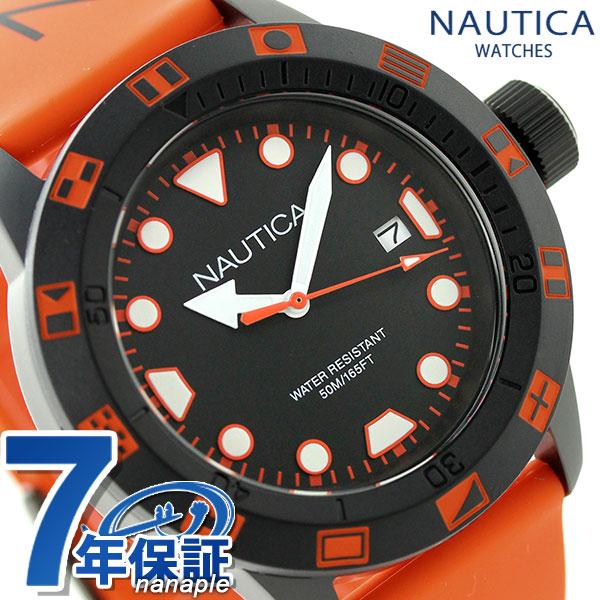 ノーティカ NSR 100 FLAG クオーツ メンズ 腕時計 NAI10077G NAUTICA ブラック×オレンジ 時計【あす楽対応】