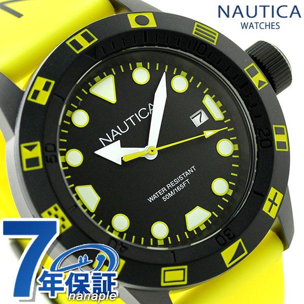 ノーティカ NSR 100 FLAG クオーツ メンズ 腕時計 NAI10078G NAUTICA ブラック×イエロー 時計【あす楽対応】