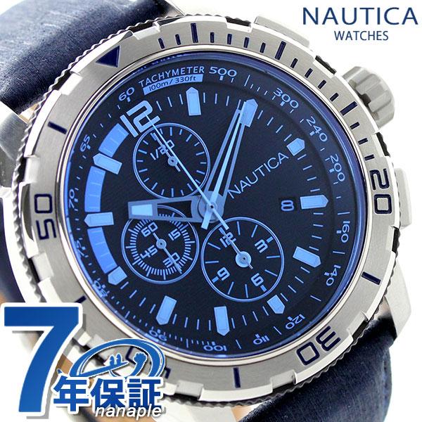 ノーティカ NST 101 ブルークリスタル クロノグラフ 腕時計 NAI19518G NAUTICA ブラック×ブルー 時計