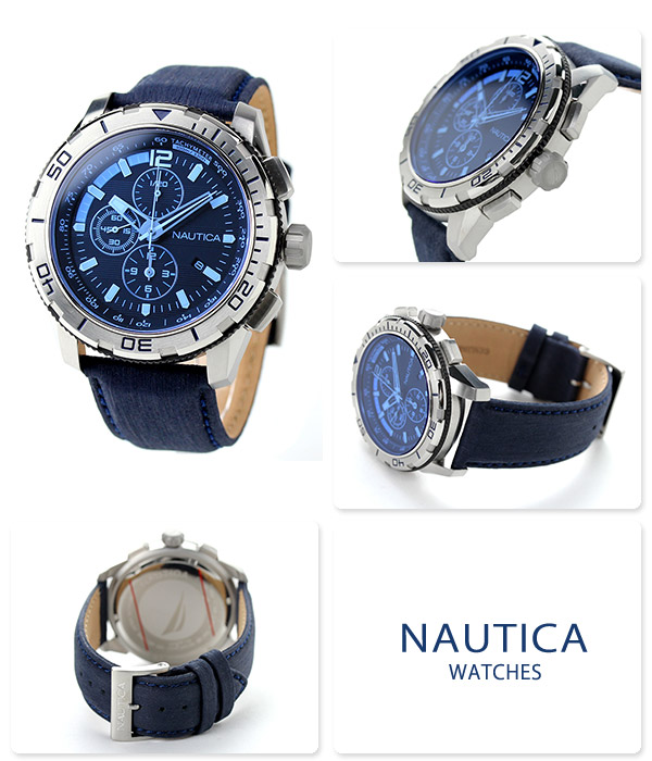 e20ba5e2a41 Nautica NST 101 blue crystal chronograph watch NAI19518G NAUTICA black X  blue