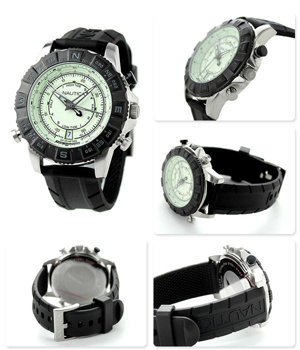 Nautica NSR 103 tide compasses watch watch NAI21004G NAUTICA cream X black