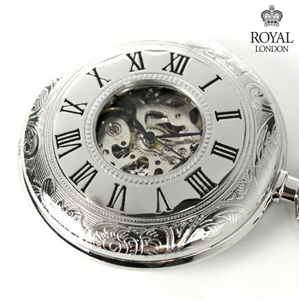 ロイヤルロンドン 懐中時計 手巻き 90009-02 ROYAL LONDON ポケットウォッチ スケルトン 時計