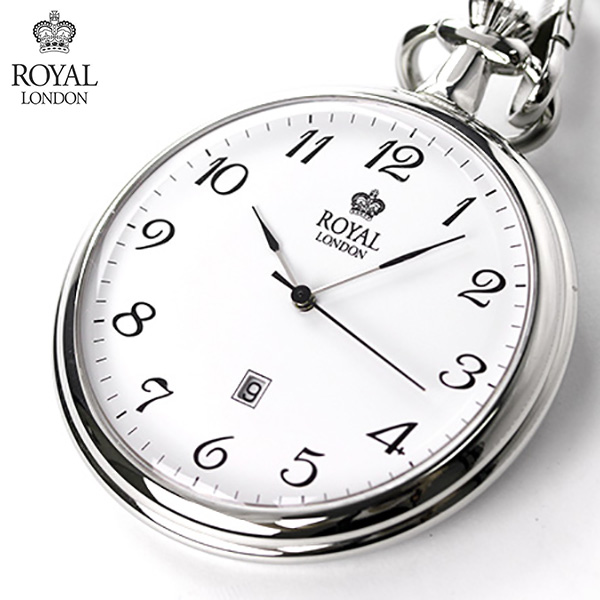 ロイヤルロンドン 懐中時計 クオーツ 90015-01 ROYAL LONDON ポケットウォッチ ホワイト 時計