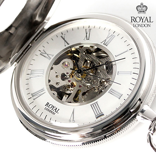 ロイヤルロンドン 懐中時計 手巻き 90029-01 ROYAL LONDON ポケットウォッチ スケルトン 時計