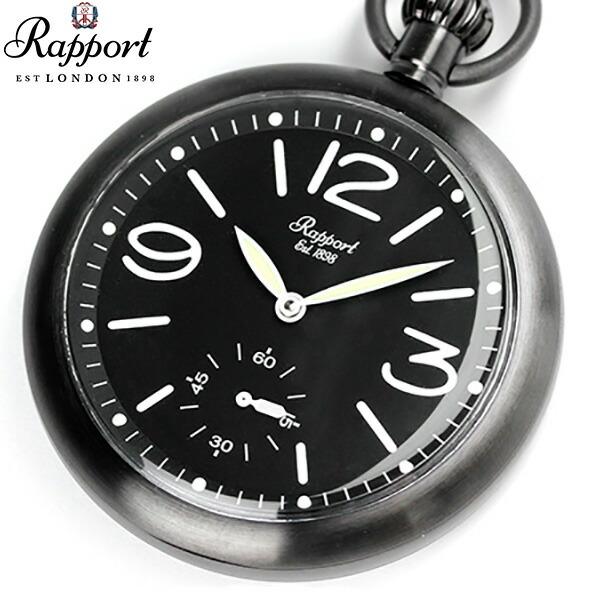 ラポート 懐中時計 手巻き オープンフェイス 限定モデル スモールセコンド PW35 Rapport ポケットウォッチ オールブラック 時計