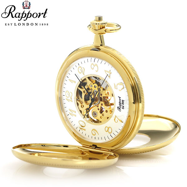 ラポート 懐中時計 スケルトン ダブルハンターケース イギリス製 手巻き PW46 Rapport ゴールド 時計