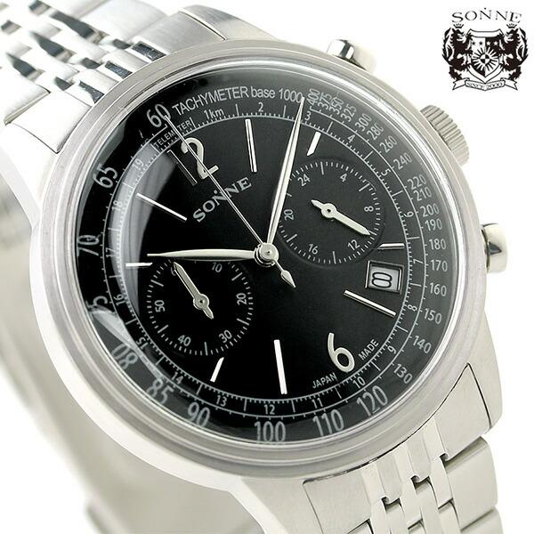 ゾンネ ヒストリカルコレクション クロノグラフ メンズ HI002BK SONNE 腕時計 ブラック 時計【あす楽対応】