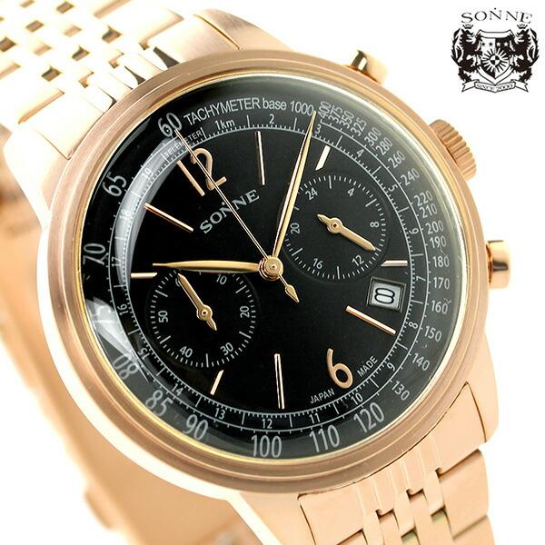 e324de48b4db20 ゾンネ ヒストリカルコレクション クロノグラフ メンズ HI002PG SONNE 腕時計 腕時計 SONNE 時計 ブラック×ピンクゴールド ...