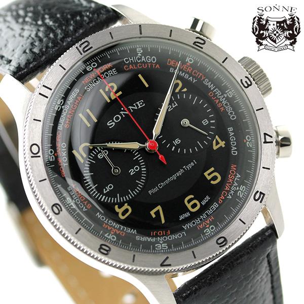 ゾンネ ヒストリカルコレクション クロノグラフ メンズ HI003BK-BK SONNE 腕時計 ブラック×ブラック