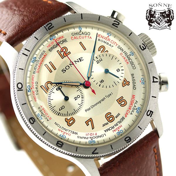 ゾンネ ヒストリカルコレクション クロノグラフ メンズ HI003IV-BR SONNE 腕時計 アイボリー×ブラウン 時計