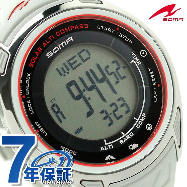 ソーマ アウトドアウォッチ ソーラー ライドワン 限定モデル NS24703 SOMA 腕時計 ホワイト 時計
