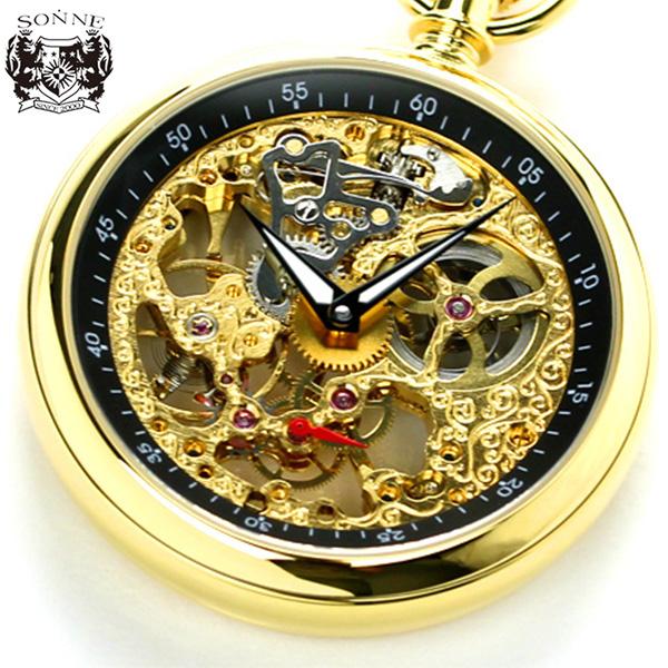 ゾンネ 懐中時計 手巻き スモールセコンド S158YG SONNE ポケットウォッチ ブラック×ゴールド 時計