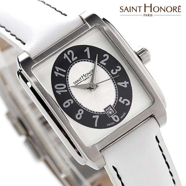 サントノーレ マンハッタン スイス製 レディース SN7310031ANB SAINT HONORE 腕時計 クオーツ シルバー×ホワイト レザーベルト 時計