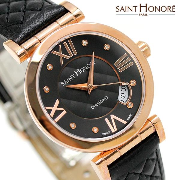 サントノーレ オペラ スモール 33mm スイス製 レディース SN7520118NM8DR SAINT HONORE 腕時計 ブラック 時計