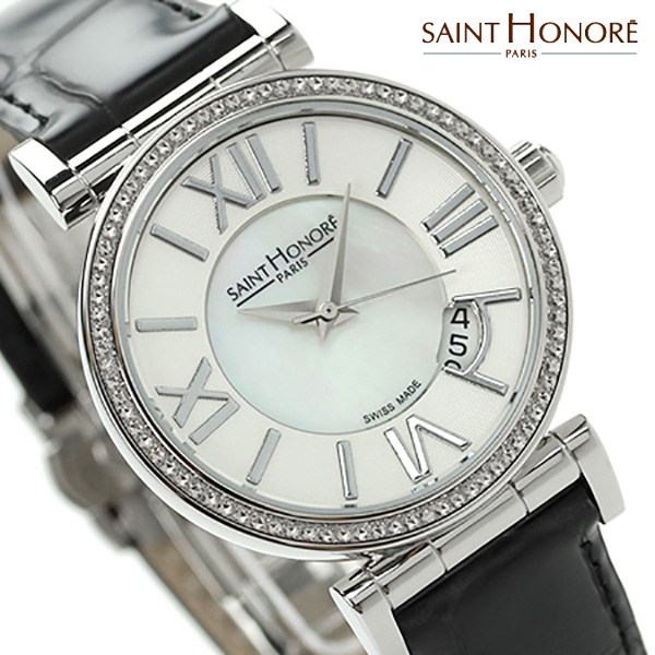 d7f533560b サントノーレオペラスモールスイス製レディースSN7520121YRNSAINTHONORE腕時計クオーツホワイトシェル×ブラックレザーベルト