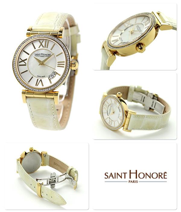 8c448fffe7 サントノーレオペラスモールスイス製レディースSN7520123YRTSAINTHONORE腕時計クオーツホワイトシェル×クリームレザーベルト