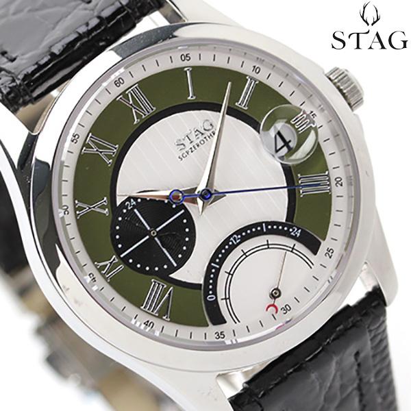 スタッグ レトログラード GMT 日本製 SGPZEROTHREE メンズ STG001S1 STAG 腕時計 クオーツ シルバー×ブラック レザーベルト 時計