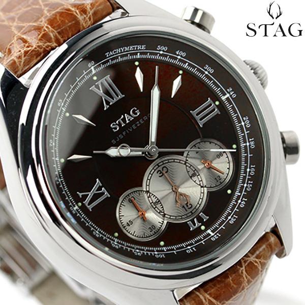 スタッグ クロノグラフ 日本製 SJSFIVEZERO メンズ 腕時計 STG004S1 STAG クオーツ ブラウン レザーベルト 時計