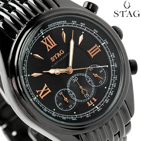 スタッグ クロノグラフ 日本製 SJSFIVEZERO メンズ 腕時計 STG008B1 STAG クオーツ ブラック 時計